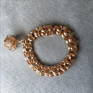 Solid 14k & 18k HEAVY 40 Gram Globe Charm Bracelet